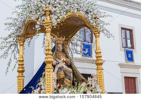 Statue Of St. Mary In The Procession. In Loulé Portugal.