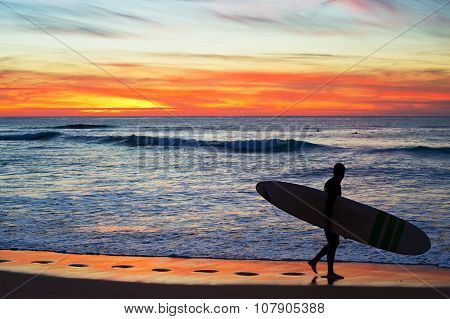 Surfer With Longboard