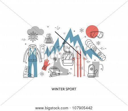 Thin line flat design of winter sport,