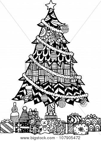 Hand drawn Christmas tree zentangle style with Christmas balls and gift boxes.