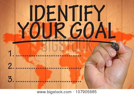 Hand Writing Identify Your Goal Over Blur World Background