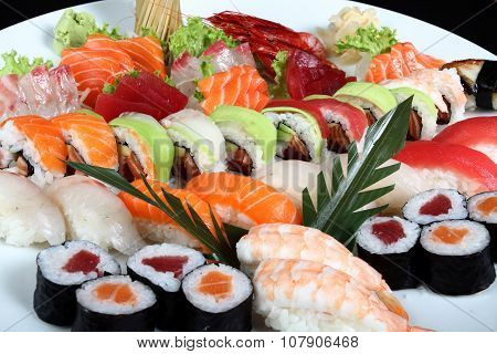 Close-up Sushi And Sashimi Mixed