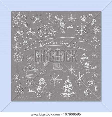 Winter and Christmas Doodle set