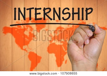 Hand Writing Internship Over Blur World Background
