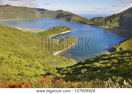 Azores Landscape With Lake. Lagoa Do Fogo, Sao Miguel. Portugal