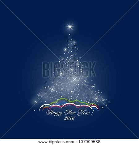 Christmas Tree Of Lights On Dark Blue Background