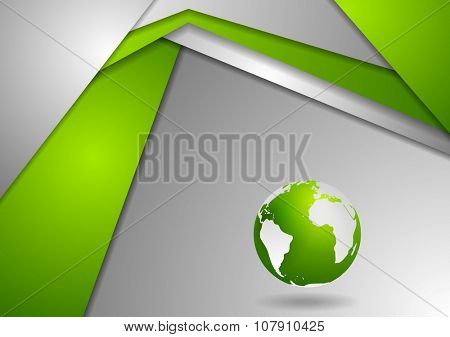 Tech corporate green grey background with earth globe