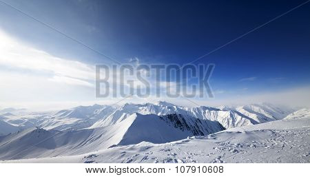 Panoramic View On Snowy Mountains At Nice Day