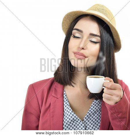 Young woman hipster drinking coffee, white background