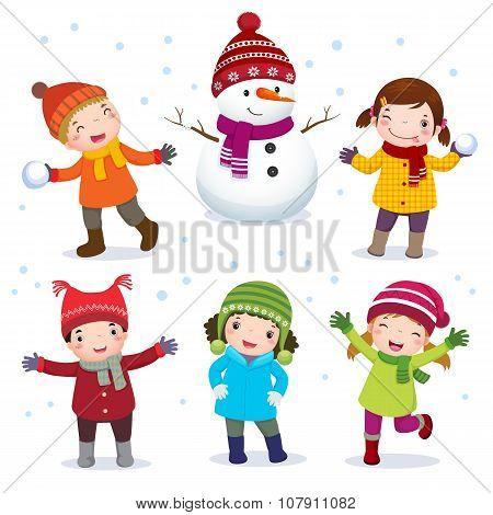 Collection Of Kids With Snowman In Winter Costume