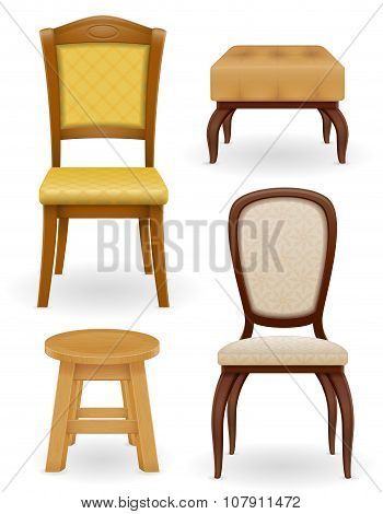 Set Icons Furniture Chair Stool And Pouf Vector Illustration