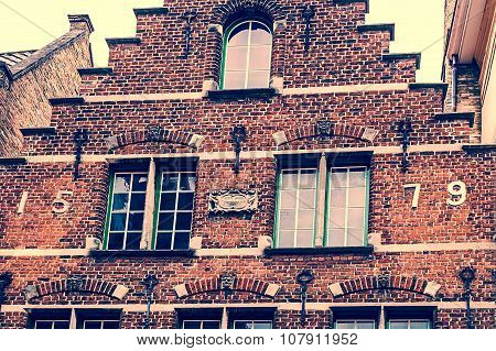 Old Photo With Architectural Facade Detail At One Old Building Placed In Bruges, Belgium, Of The 157
