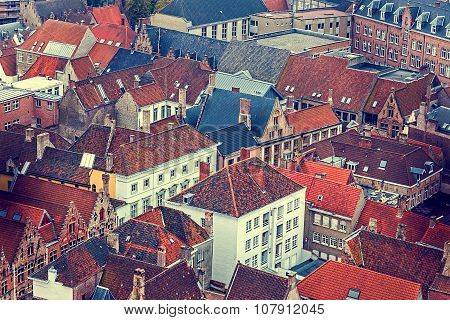 Old Photo With Aerial View Of Bruges