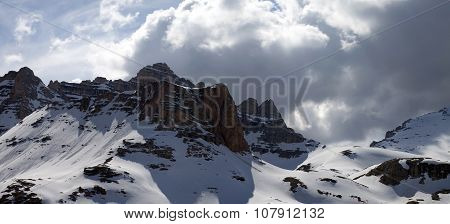 Panoramic View On Winter Mountains In Storm Clouds