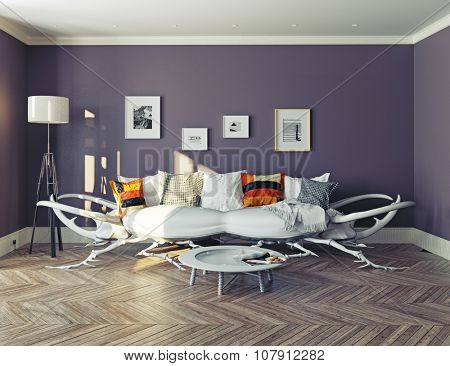 modern interior. Rhino - beetle sofa concept.3d design idea