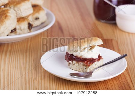 Scones With Strawberry Jam And Whipped Cream