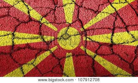 Flag of the Republic of Macedonia, Macedonian Flag painted on cracked ground