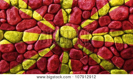 Flag of the Republic of Macedonia, Macedonian Flag painted on stones