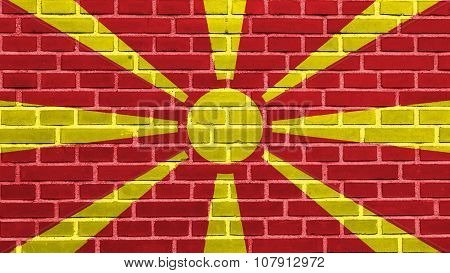 Flag of the Republic of Macedonia, Macedonian Flag painted on brick wall