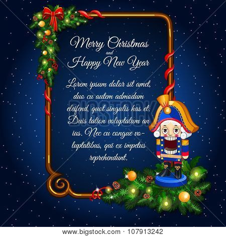 Happy New Year and merry Christmas card with retro soldier and vertical frame for text on a blue bac
