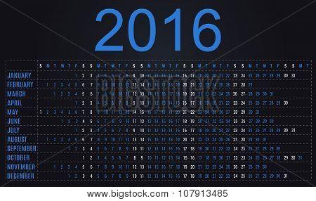Simple planner calendar 2016 - blue and black design