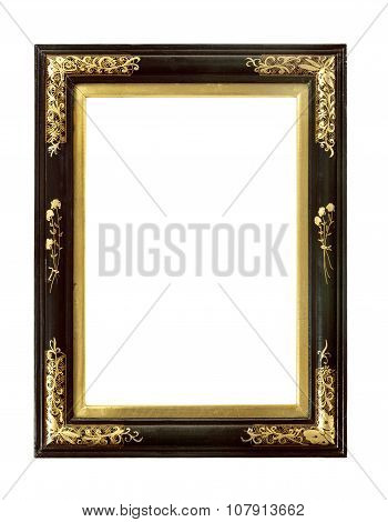 Oriental Picture Frame Old Antique Lacquer And Gold, Isolated On