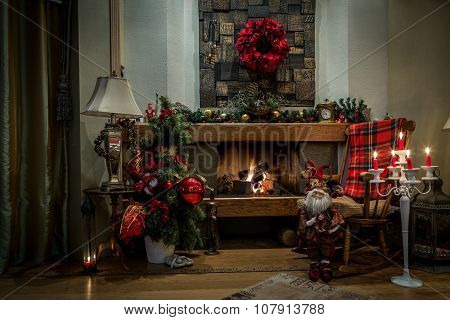 Romantic Fireplace And Christmas Decorations At Home