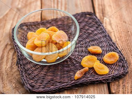 Dried apricots in the glassy pialat