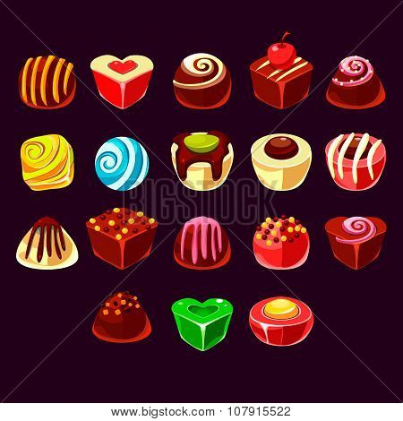 Candies vector, cute sweet game elements