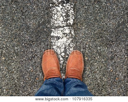 Top View,foot Stand On Road ,leave Space For Your Content