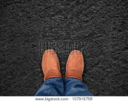 Top View,foot Stand On Black Sand Stone ,leave Space For Your Content