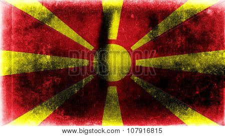 Flag of the Republic of Macedonia, Macedonian Flag painted on paper texture.