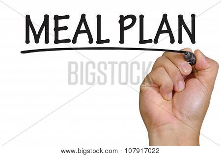 Hand Writing Meal Plan Over Plain White Background