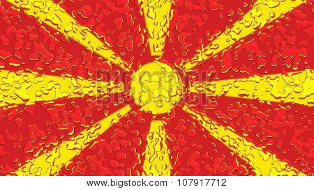 Flag of the Republic of Macedonia, Macedonian Flag with water drops
