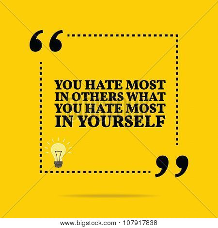 Inspirational Motivational Quote. You Hate Most In Others What You Hate Most In Yourself.