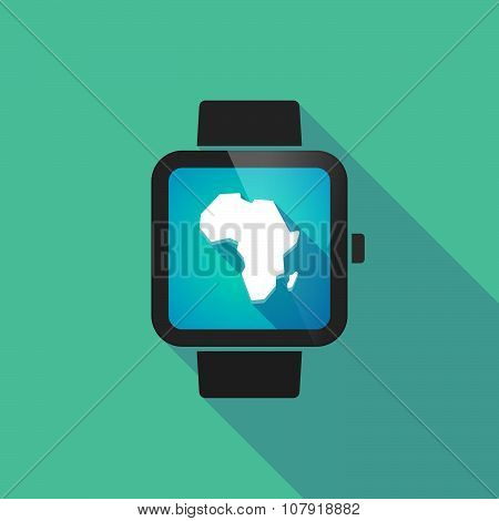 Smart Watch Vector Icon With  A Map Of The African Continent