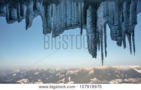 Winter Mountains Through Ice Framework