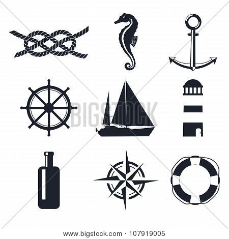 Vector naval badge element set. Vintage isolated monochrome collection.