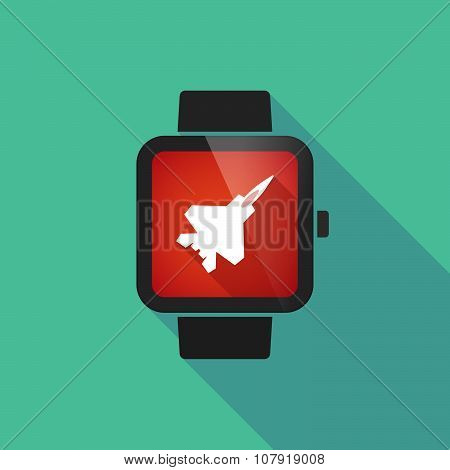 Smart Watch Vector Icon With A Combat Plane