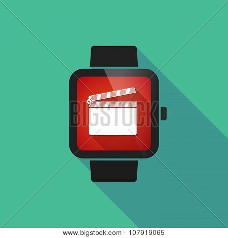 Smart Watch Vector Icon With A Clapperboard