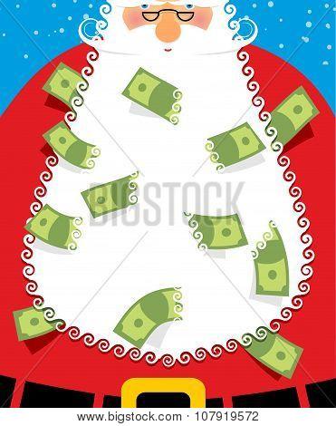 Santa Claus Beard Money. Christmas Wealth. New Years Character Will Bring Many Dollars. Grandfather