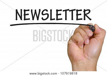 Hand Writing Newsletter Over Plain White Background