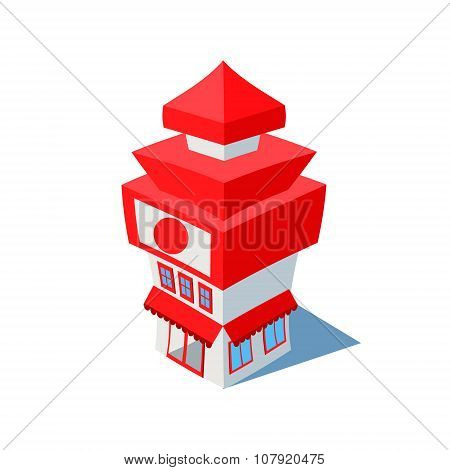 Vector isometric sushi restaurant cafe building
