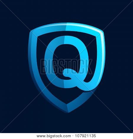 Q Letter With Blue Shield.