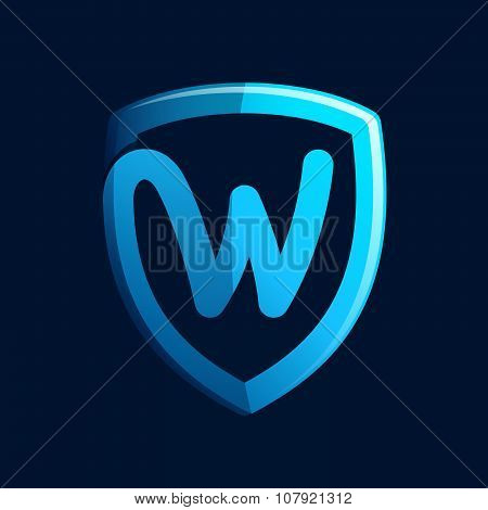 W Letter With Blue Shield.