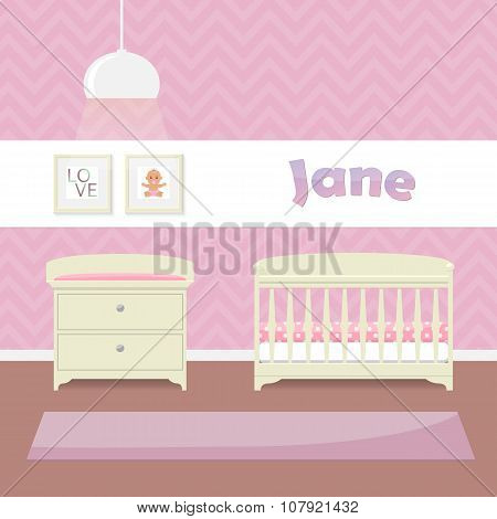 Design a child's room in pink for girls. Crib, swaddle table and framed pictures. Flat style vector