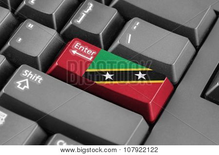 Enter Button With Saint Kitts And Nevis Flag
