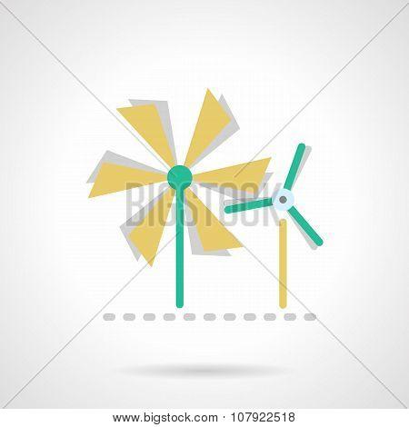 Wind turbine flat color vector icon