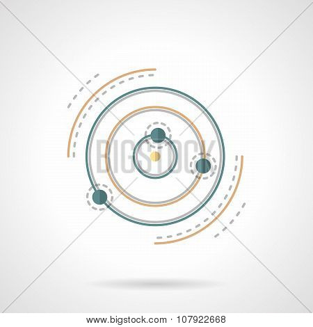 Planet and satellites abstract flat vector icon