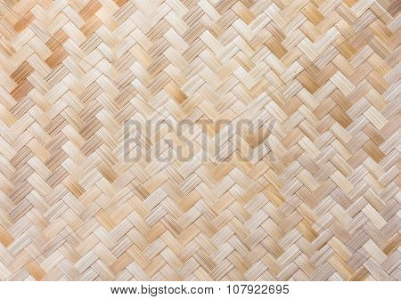 Traditional Thai Style Pattern Nature Background Of Brown Handicraft Weave Texture Wicker Surface